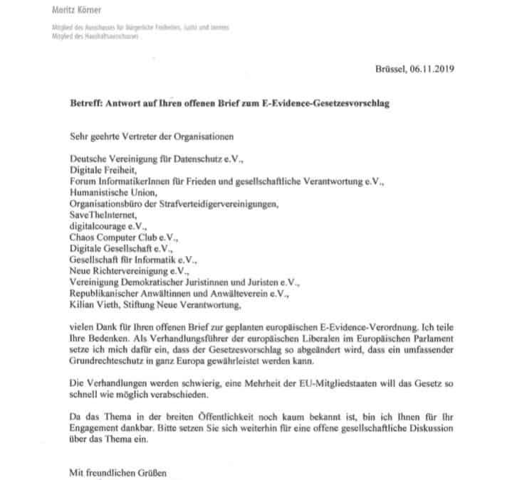 Meine Antwort zum offenen Brief von 13 Organisationen zum E-Evidence-Gesetzesvorschlag