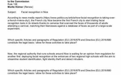 Schriftliche Anfrage an die EU-Kommission zur Gesichtserkennung in Nizza