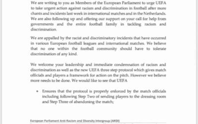 Brief an die UEFA – Aufforderung Anti-Rassismus und Anti-Diskrimierungs-Maßnahmen im Fußball