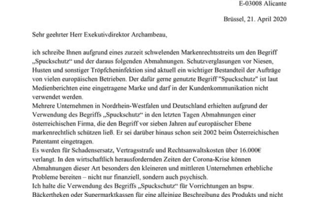 "Absurder Markenrechtsstreit um den Begriff ""Spuckschutz"""