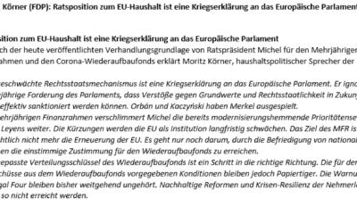 """Der abgeschwächte Rechtsstaatsmechanismus ist eine Kriegserklärung an das Europäische Parlament"""