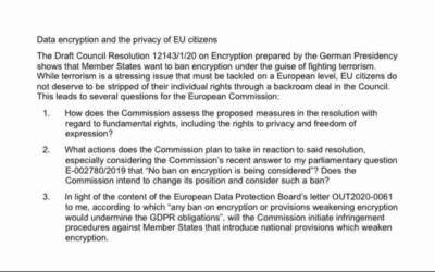 Meine Anfrage an die EU-Kommission zum Verschlüsselungsverbot